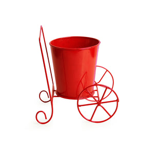 'Plant On Wheels' Table Cum Floor Planter Pot In Glossy Red
