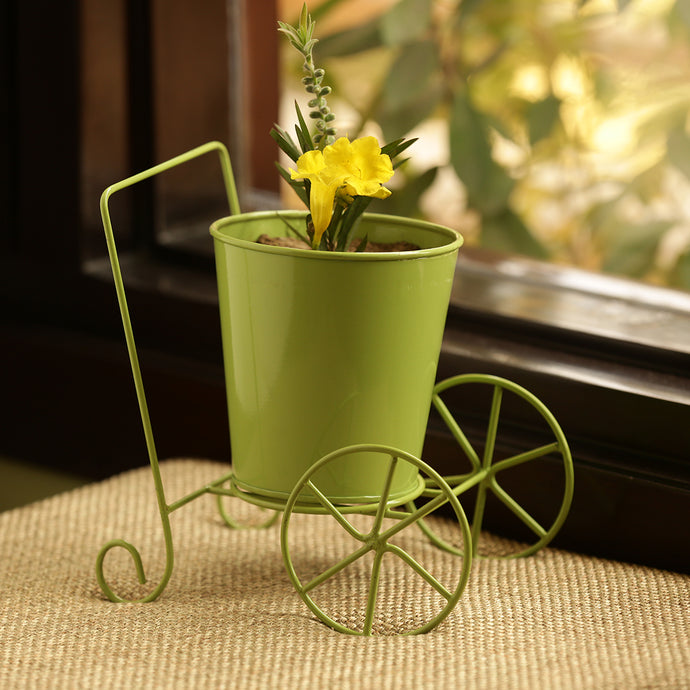 'Plant On Wheels' Table Cum Floor Planter Pot In Glossy Grass Green