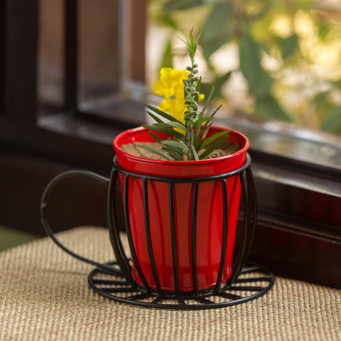 'Plant In A Cup' Table Cum Floor Planter Pot In Glossy Red
