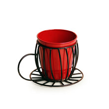 Load image into Gallery viewer, 'Plant In A Cup' Table Cum Floor Planter Pot In Glossy Red