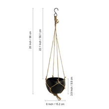 Load image into Gallery viewer, 'Black Goblet' Metal Hand-Painted Hanging Planter Pot With Jute