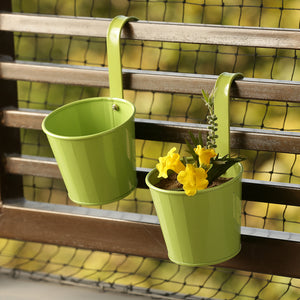 'Tiny Grass Greens' Metal Hand-Painted Railing Cum Table Planters Pot (Set Of 2)