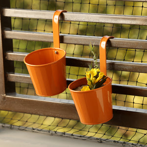 'Tiny Orange' Metal Hand-Painted Railing Cum Table Planters Pot (Set Of 2)