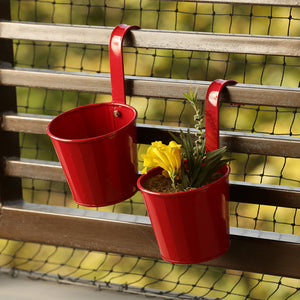 'Tiny Reds' Metal Hand-Painted Railing Cum Table Planters Pot (Set Of 2)