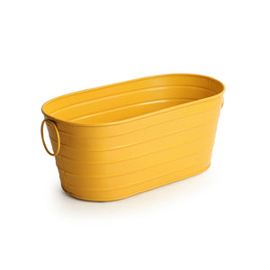 'Glossy Yellow' Hand-Painted Floor Cum Table Planters Pot In Metal (Set Of 2)