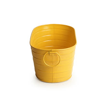 Load image into Gallery viewer, 'Glossy Yellow' Hand-Painted Floor Cum Table Planters Pot In Metal (Set Of 2)