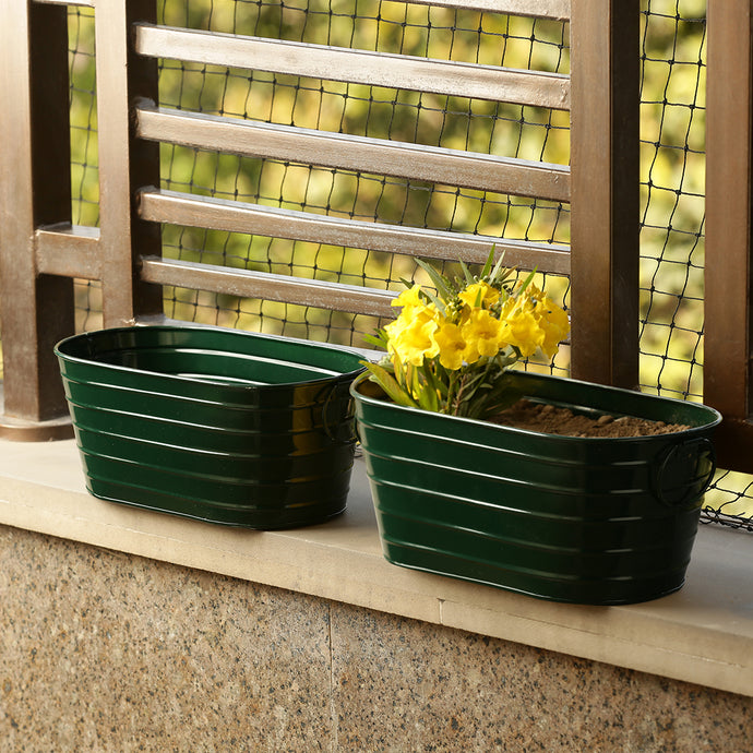 'Emerald Green' Hand-Painted Floor Cum Table Planters Pot (Set Of 2)