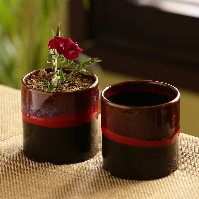 'Midnight Sun' Hand Glazed Studio Pottery Ceramic Planters (Set Of 2)