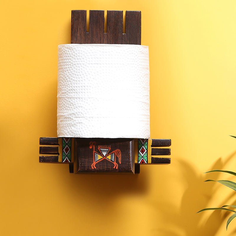 'Vibrantly Warli' Cross Joint Hand-Painted Tissue Roll Holder In Teak Wood