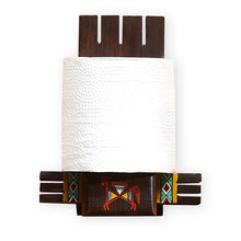 Load image into Gallery viewer, 'Vibrantly Warli' Cross Joint Hand-Painted Tissue Roll Holder In Teak Wood