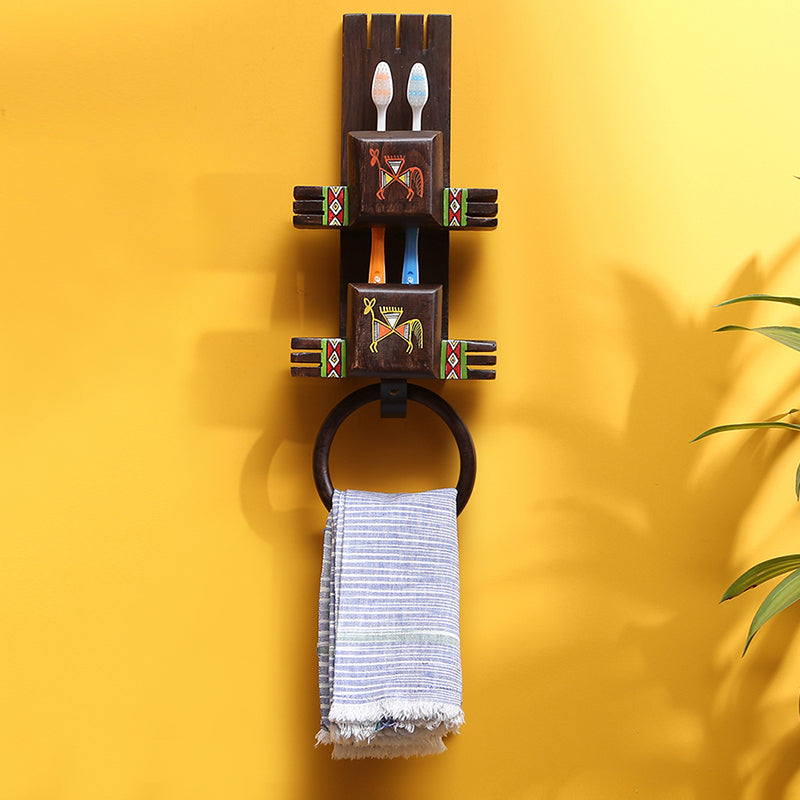 'Wall Trinklet' Warli Hand-Painted Toothbrush & Towel Holder In Teak Wood