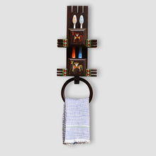 Load image into Gallery viewer, 'Wall Trinklet' Warli Hand-Painted Toothbrush & Towel Holder In Teak Wood
