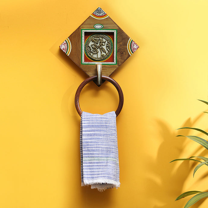 'Brass-y On Wood' Warli Hand-Painted Dhokra Towel Holder In Sheesham Wood