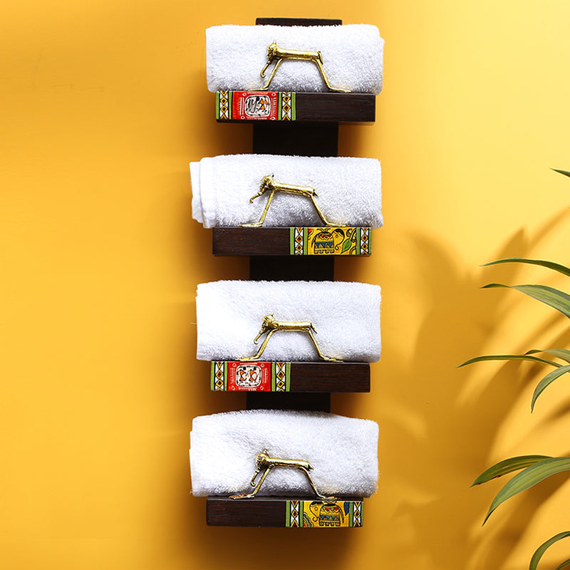 'Wall Trinklet' Teak Wood Warli Towel Holder With Dhokra Animal Figurines (4 Shelves)