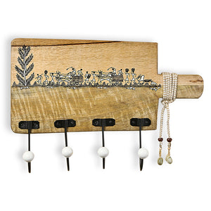 'Whitwewood Canvas' Wall Cloth Hanger With Warli Hand-Painting & Jute Dori