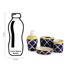 Load image into Gallery viewer, 'Moroccan Essentials' Handpainted Ceramic Bathroom Accessory Set Of 4