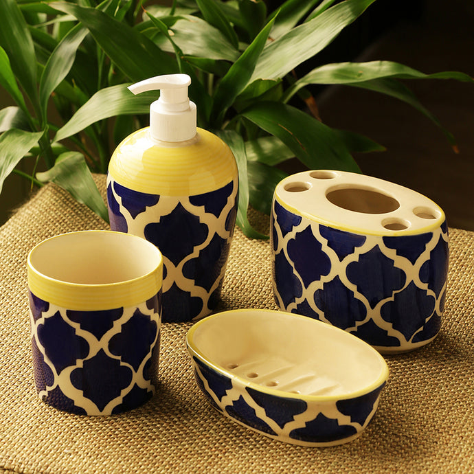 'Moroccan Essentials' Handpainted Ceramic Bathroom Accessory Set Of 4