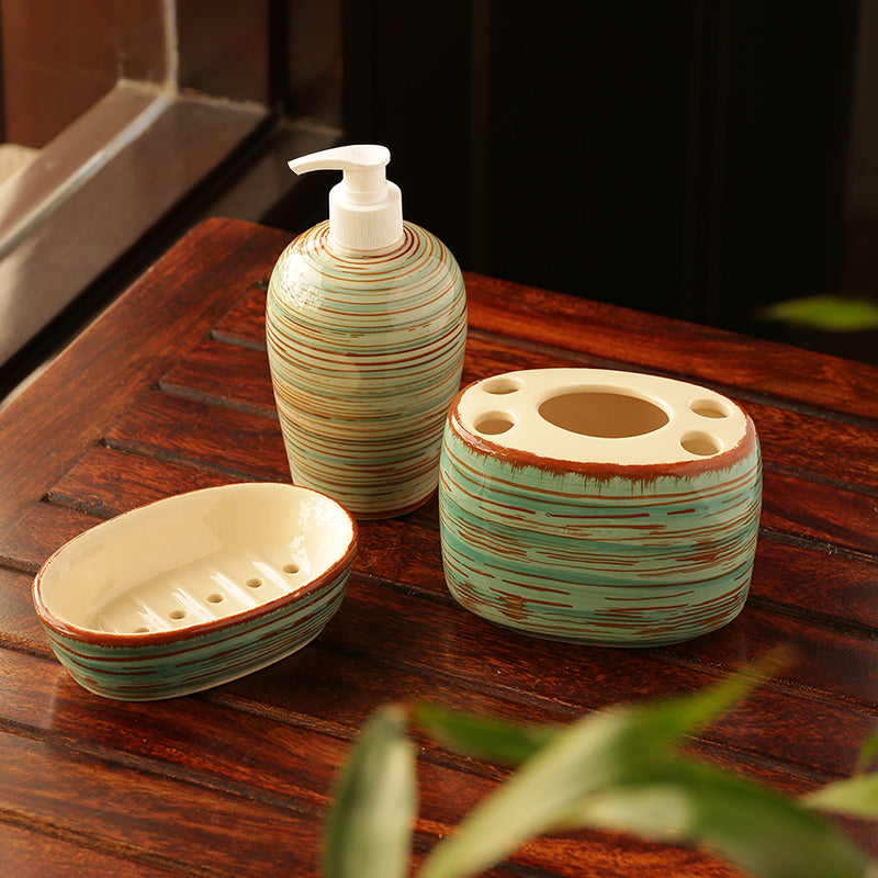 Handpainted Ceramic Bathroom Accessory Set Of 3
