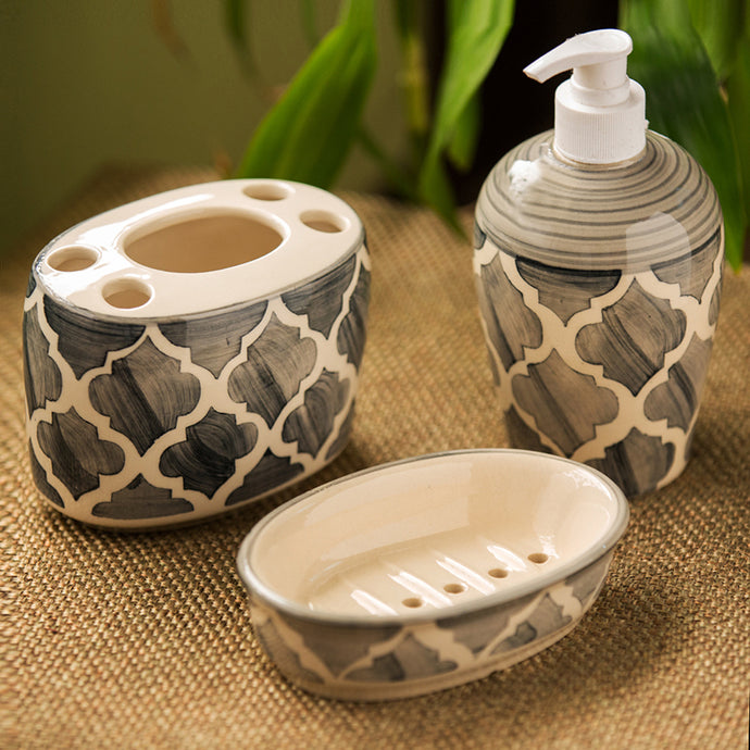 'Moroccan Essentials' Handpainted Ceramic Bathroom Accessory Set Of 3