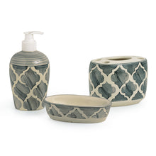 Load image into Gallery viewer, 'Moroccan Essentials' Handpainted Ceramic Bathroom Accessory Set Of 3
