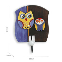 Load image into Gallery viewer, 'Twin Owl Motifs' Wall Towel Cum Cloth Hanger (1 Hook)
