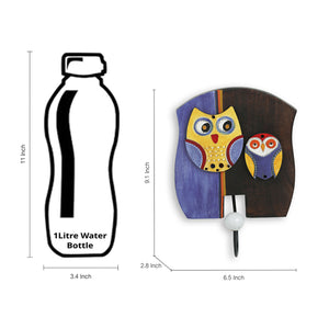 'Twin Owl Motifs' Wall Towel Cum Cloth Hanger (1 Hook)
