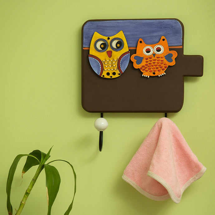 'Twin Owl Motifs' Wall Towel Cum Cloth Hanger (2 Hooks)
