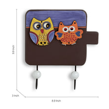 Load image into Gallery viewer, 'Twin Owl Motifs' Wall Towel Cum Cloth Hanger (2 Hooks)
