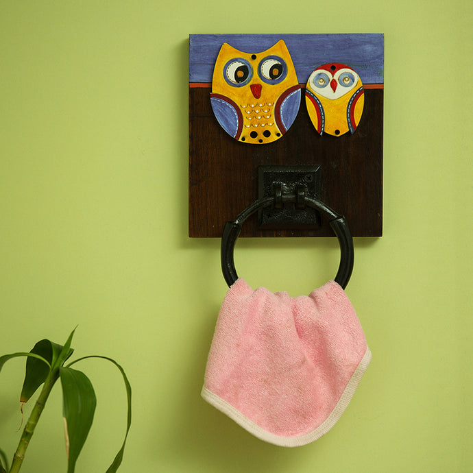 'Twin Owl Motifs' Wall Towel Holder (1 Ring)