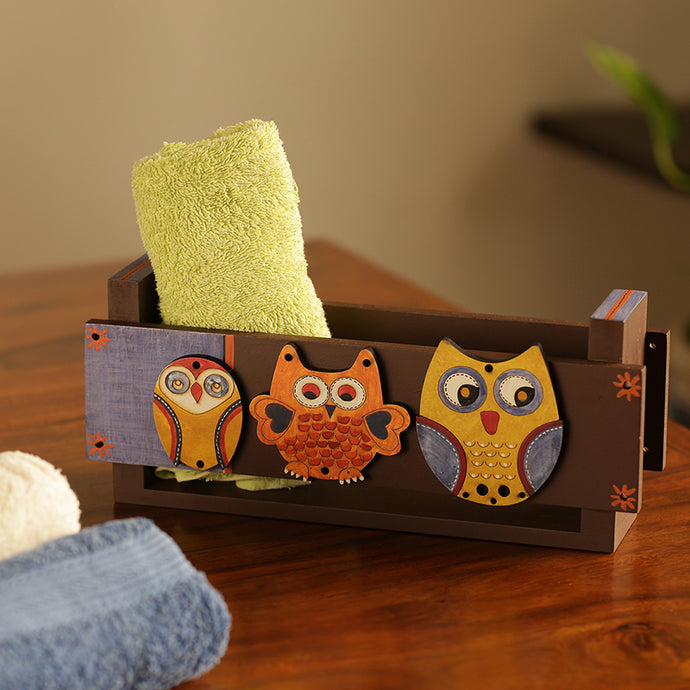 'Triple Owl Motifs' Towel Holder (Upto 3 Towels)