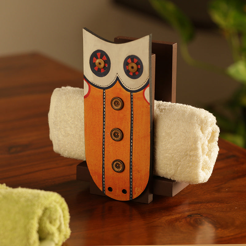 'Owl Motif' Towel Holder (Upto 3 Towels)