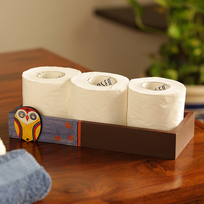 'Owl Motif' Tissue Roll Holder Tray (3 Rolls)