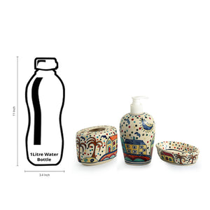'The Hut Essentials' Hand-Painted Ceramic Bathroom Accessory Set Of 3
