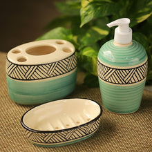 Load image into Gallery viewer, 'Sea Green Sky' Handpainted Ceramic Bathroom Accessory Set Of 3