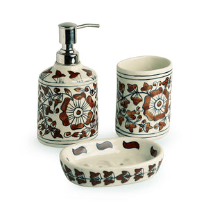 'Autumn Blooms' Mughal Hand-Painted Rust Bown Ceramic Bathroom Accessory Set Of 3