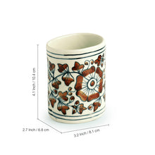 Load image into Gallery viewer, 'Autumn Blooms' Mughal Hand-Painted Rust Bown Ceramic Bathroom Accessory Set Of 3