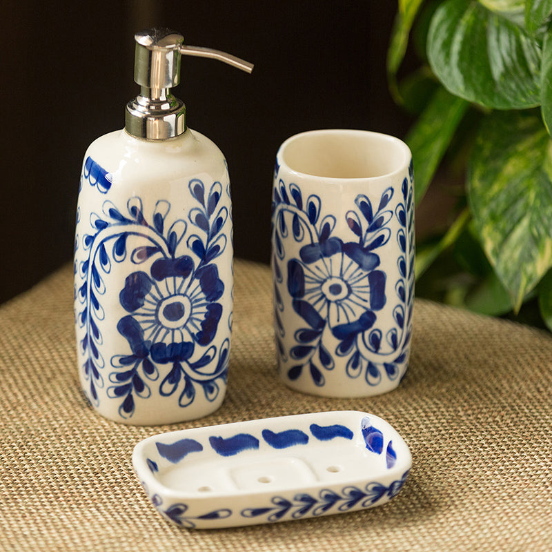 The 'Wintry Blooms' Mughal Hand-Painted Ink Blue Ceramic Bathroom Accessory Set Of 3