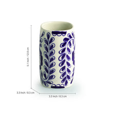 Load image into Gallery viewer, The 'Wintry Blooms' Mughal Hand-Painted Ink Blue Ceramic Bathroom Accessory Set Of 3