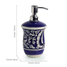 Load image into Gallery viewer, The 'Floral Mughal Hand-Painted' Ink Blue Ceramic Bathroom Accessory Set Of 3