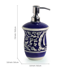 The 'Floral Mughal Hand-Painted' Ink Blue Ceramic Bathroom Accessory Set Of 3