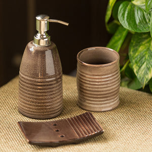 The 'Cocoa Essentials' Hand Glazed Studio Pottery Ceramic Bathroom Accessory Set Of 3