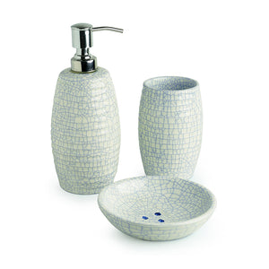 The 'Crackled Essentials' Handglazed Studio Pottery Ceramic Bathroom Accessory Of 3