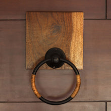 Load image into Gallery viewer, Cane Handwoven Towel Ring Holder In Sheesham Wood & Iron