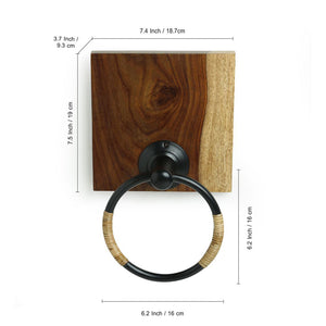 Cane Handwoven Towel Ring Holder In Sheesham Wood & Iron