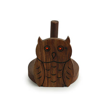 Load image into Gallery viewer, 'Owl On A Roll' Toilet Roll Holder With Hand Carved Owl Motif In Sheesham Wood