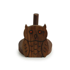 'Owl On A Roll' Toilet Roll Holder With Hand Carved Owl Motif In Sheesham Wood