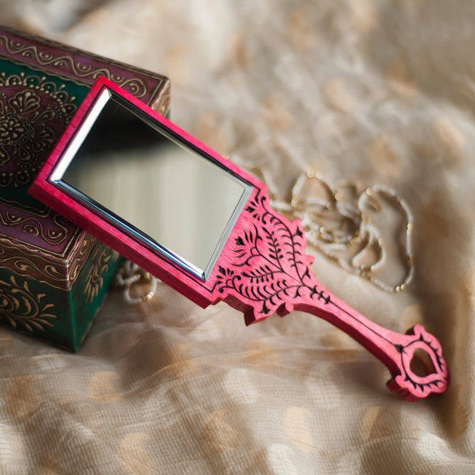 Wooden Engraved Handheld Mirror From