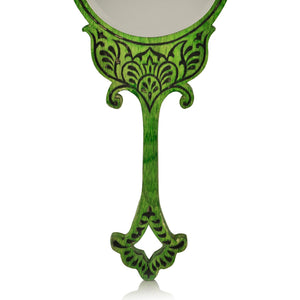 "Wooden Engraved Handheld Mirror From ""Royal Queen Collection """