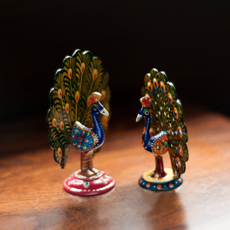Meenakari Dancing Peacock Set Handenamelled In Metal