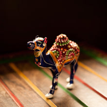 Load image into Gallery viewer, Meenakari Royal Blue Standing Camel In Enamelled Metal Art